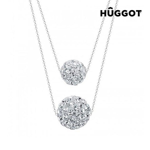 Image of Hûggot Balls 925 Sterling Silver Pendant with Zircons and Double Chain (40 and 45 cm)-Universal Store London™