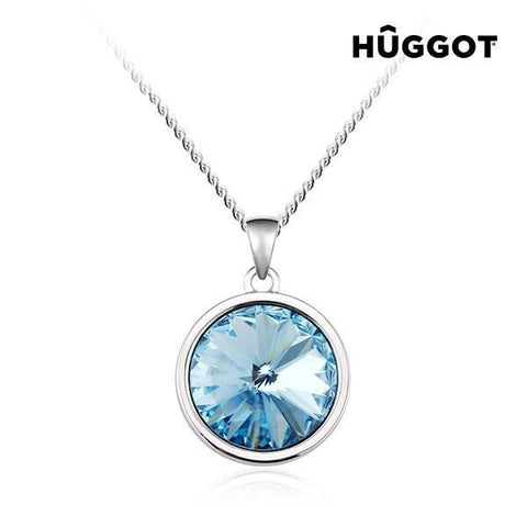 Image of Hûggot Blue Diamond Rhodium-Plated Pendant with Zircons Created with Swarovski®Crystals (45 cm)-Universal Store London™