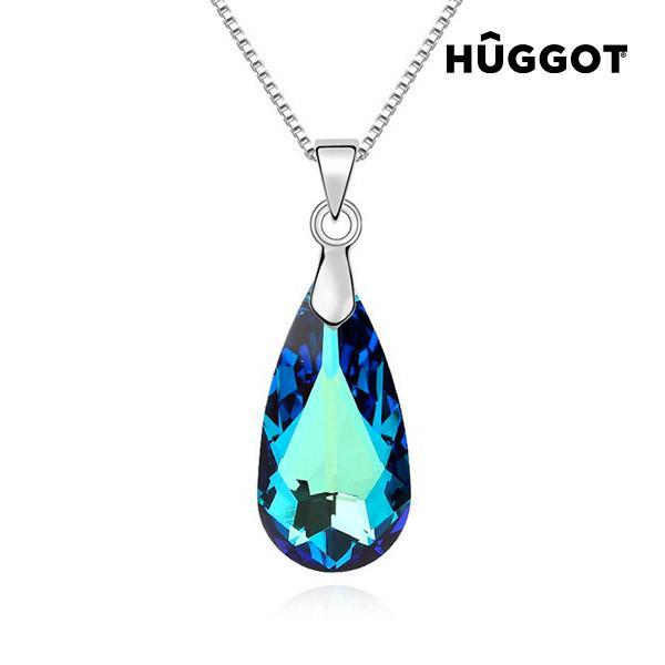 Hûggot Blue Tear Rhodium-Plated Pendant Created with Swarovski®Crystals (45 cm)-Universal Store London™