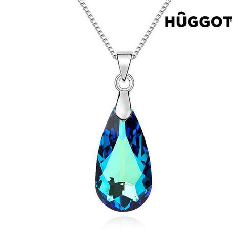 Image of Hûggot Blue Tear Rhodium-Plated Pendant Created with Swarovski®Crystals (45 cm)-Universal Store London™