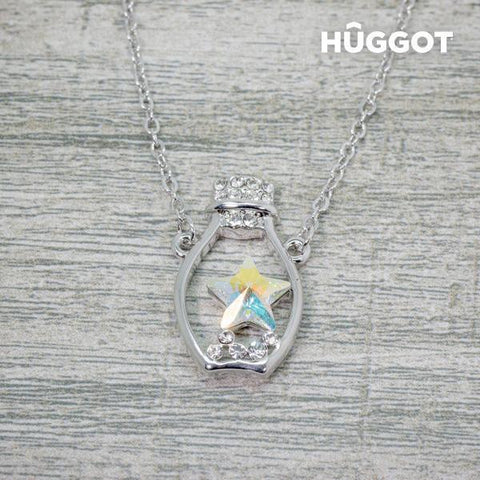Image of Hûggot Bottle Rhodium-Plated Pendant with Zircons Created with Swarovski®Crystals (45 cm)-Universal Store London™