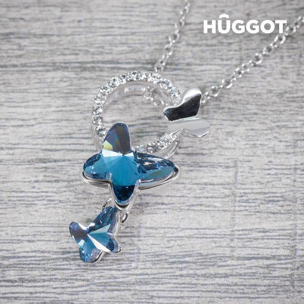 Hûggot Butterfly Rhodium-Plated Pendant with Zircons (45 cm)-Universal Store London™