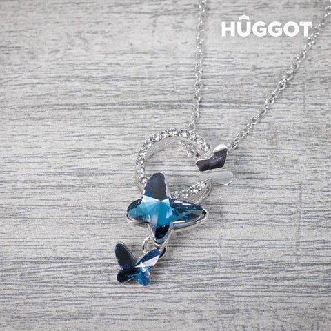 Image of Hûggot Butterfly Rhodium-Plated Pendant with Zircons (45 cm)-Universal Store London™