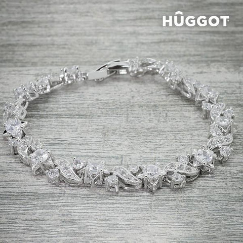 Image of Hûggot Charm Rhodium-Plated Bracelet with Zircons (18 cm)-Universal Store London™