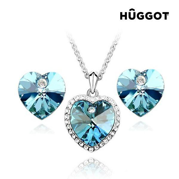 Hûggot Cinderella Rhodium-Plated Set: Pendant and Earrings with Zircons (45 cm) Created with Swarovski®Crystals (45 cm)-Universal Store London™