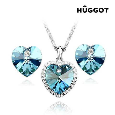 Image of Hûggot Cinderella Rhodium-Plated Set: Pendant and Earrings with Zircons (45 cm) Created with Swarovski®Crystals (45 cm)-Universal Store London™