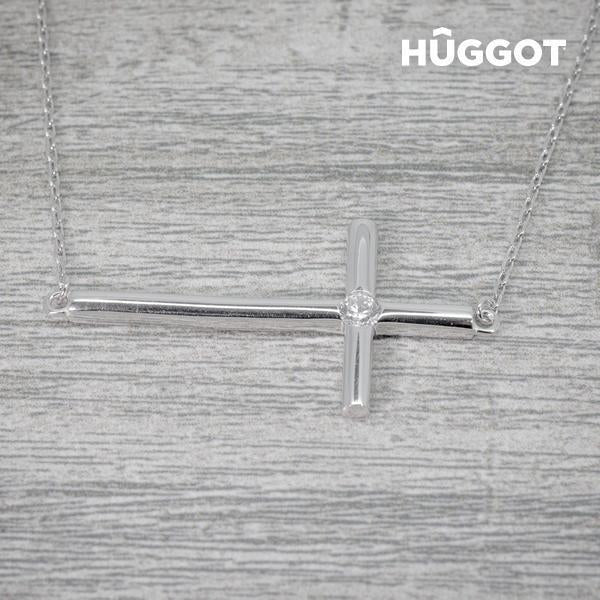 Hûggot Cross 925 Sterling Silver Pendant with Zircons (45 cm)-Universal Store London™