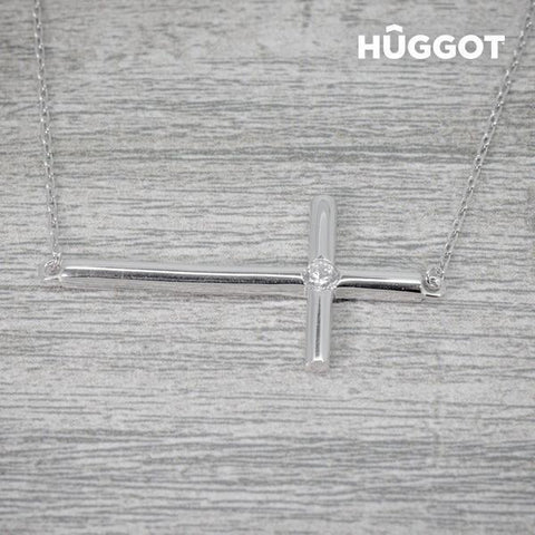 Image of Hûggot Cross 925 Sterling Silver Pendant with Zircons (45 cm)-Universal Store London™