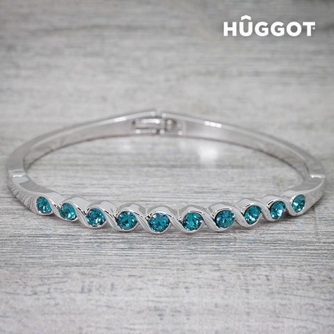 Image of Hûggot Diane Rhodium-Plated Bracelet Created with Swarovski®Crystals (Ø 5 cm)-Universal Store London™