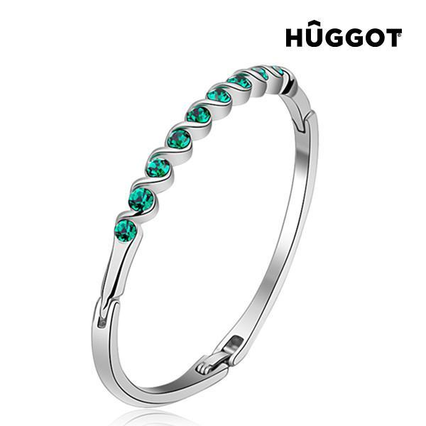 Hûggot Diane Rhodium-Plated Bracelet Created with Swarovski®Crystals (Ø 5 cm)-Universal Store London™