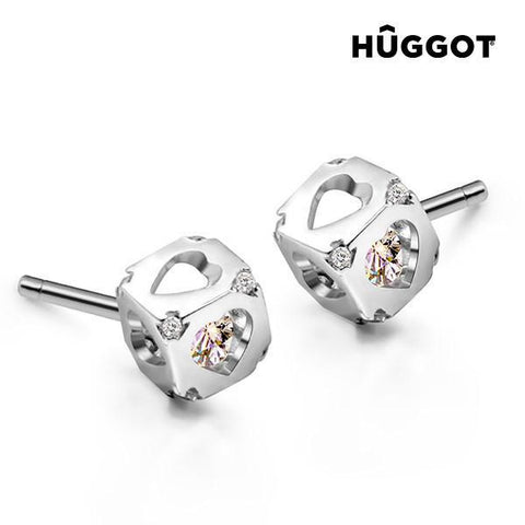 Image of Hûggot Dice 925 Sterling Silver Earrings with Zircons-Universal Store London™