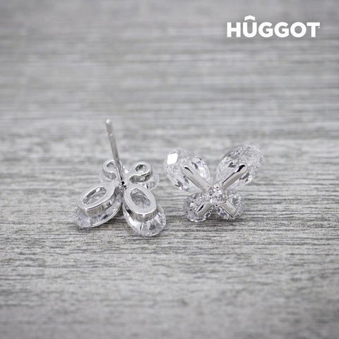 Image of Hûggot Dreams Rhodium-Plated Earrings with Zircons-Universal Store London™