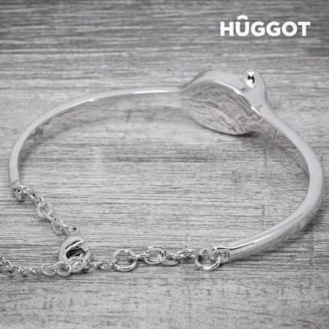 Image of Hûggot Face Rhodium-Plated Bracelet Created with Swarovski®Crystals (Ø 6 cm)-Universal Store London™