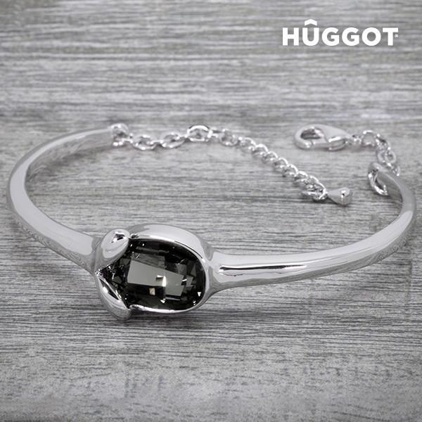 Hûggot Face Rhodium-Plated Bracelet Created with Swarovski®Crystals (Ø 6 cm)-Universal Store London™