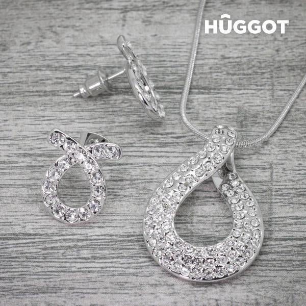 Hûggot Fish Rhodium-Plated Set: Pendant and Earrings with Zircons (45 cm)-Universal Store London™