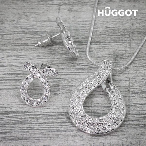 Image of Hûggot Fish Rhodium-Plated Set: Pendant and Earrings with Zircons (45 cm)-Universal Store London™