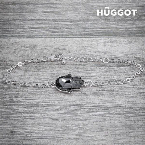 Image of Hûggot Girl Rhodium-Plated Bracelet Created with Swarovski®Crystals (20 cm)-Universal Store London™