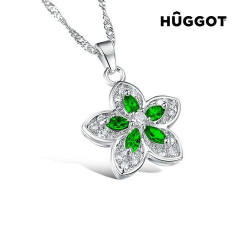 Image of Hûggot Green Flower Stainless Steel Pendant with Zircons (45 cm)-Universal Store London™