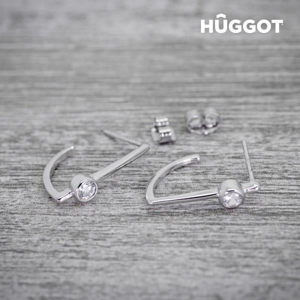 Hûggot Hook 925 Sterling Silver Earrings with Zircons-Universal Store London™