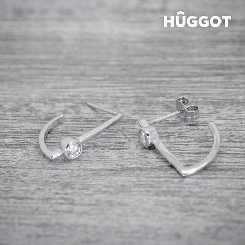 Image of Hûggot Hook 925 Sterling Silver Earrings with Zircons-Universal Store London™