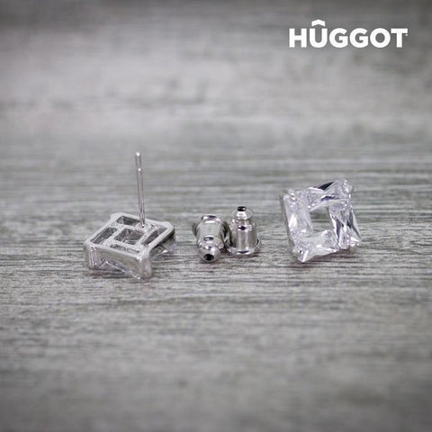 Image of Hûggot Ice Rhodium-Plated Earrings with Zircons-Universal Store London™