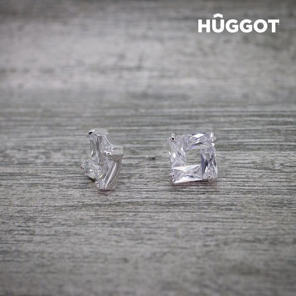 Hûggot Ice Rhodium-Plated Earrings with Zircons-Universal Store London™