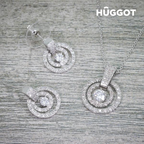 Hûggot Labyrinth Rhodium-Plated Set: Pendant and Earrings with Zircons (45 cm)-Universal Store London™