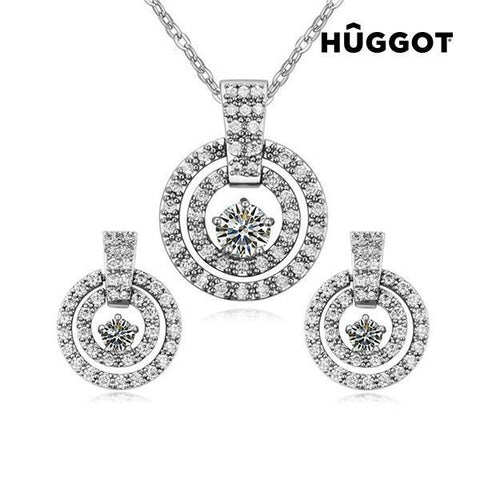 Image of Hûggot Labyrinth Rhodium-Plated Set: Pendant and Earrings with Zircons (45 cm)-Universal Store London™