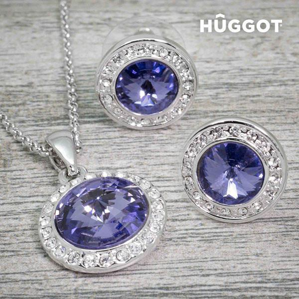 Hûggot Mirror Rhodium-Plated Set: Pendant and Earrings with Zircons (45 cm)-Universal Store London™