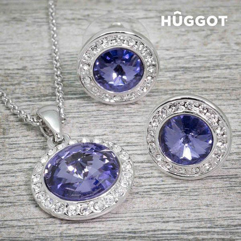 Image of Hûggot Mirror Rhodium-Plated Set: Pendant and Earrings with Zircons (45 cm)-Universal Store London™