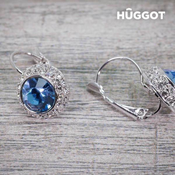 Hûggot Owl Rhodium-Plated Earrings Created with Swarovski®Crystals-Universal Store London™