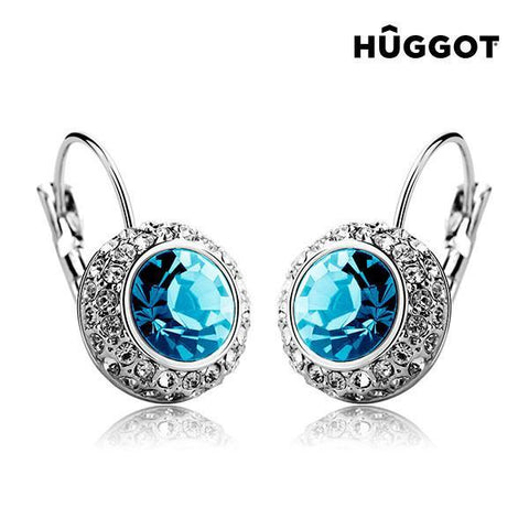 Image of Hûggot Owl Rhodium-Plated Earrings Created with Swarovski®Crystals-Universal Store London™