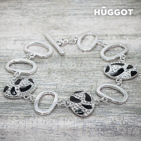 Image of Hûggot Panther Rhodium-Plated Bracelet with Zircons (18 cm)-Universal Store London™