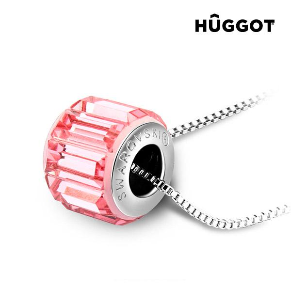 Hûggot Pink Wheel Rhodium-Plated Pendant Created with Swarovski®Crystals (45 cm)-Universal Store London™