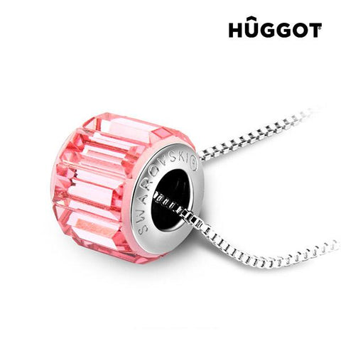 Image of Hûggot Pink Wheel Rhodium-Plated Pendant Created with Swarovski®Crystals (45 cm)-Universal Store London™