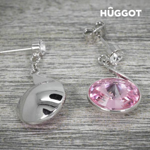 Image of Hûggot Reverse Rhodium-Plated Earrings Created with Swarovski®Crystals-Universal Store London™