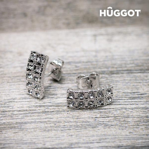 Image of Hûggot Ribbon Rhodium-Plated Earrings with Zircons-Universal Store London™