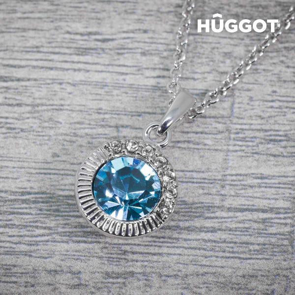 Hûggot Sandy Rhodium-Plated Pendant with Zircons Created with Swarovski®Crystals (45 cm)-Universal Store London™