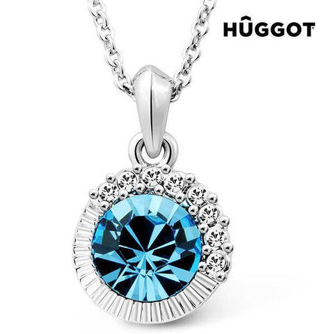 Image of Hûggot Sandy Rhodium-Plated Pendant with Zircons Created with Swarovski®Crystals (45 cm)-Universal Store London™