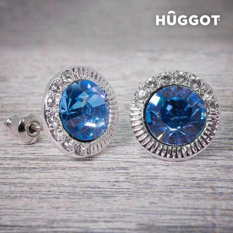 Image of Hûggot Sky Rhodium-Plated Earrings Created with Swarovski®Crystals-Universal Store London™