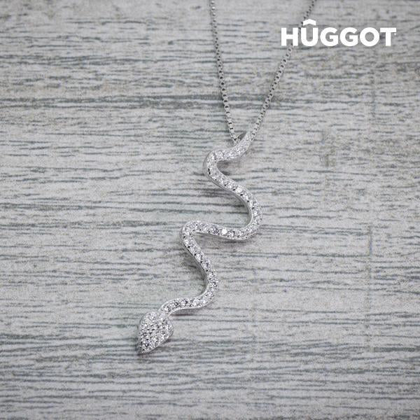 Hûggot Snake 925 Sterling Silver Pendant with Zircons (45 cm)-Universal Store London™