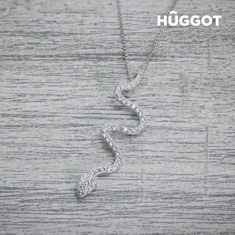 Image of Hûggot Snake 925 Sterling Silver Pendant with Zircons (45 cm)-Universal Store London™