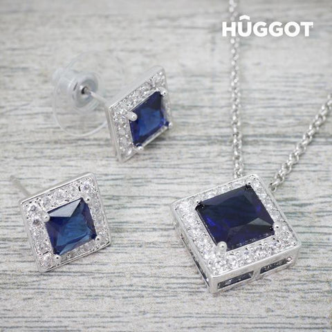 Image of Hûggot Square Rhodium-Plated Set: Pendant and Earrings with Zircons (45 cm)-Universal Store London™