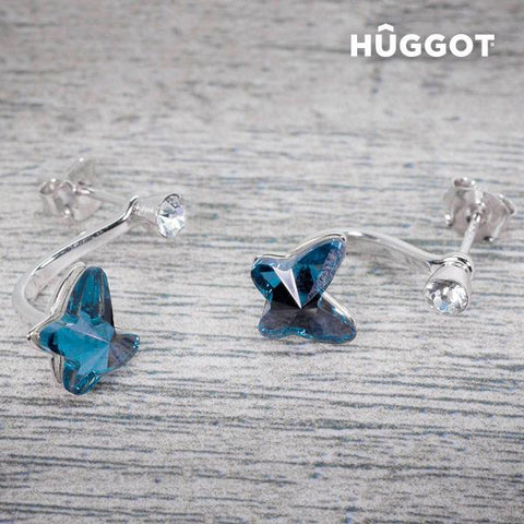 Image of Hûggot Swing Rhodium-Plated Earrings with Zircons Created with Swarovski® Crystals-Universal Store London™