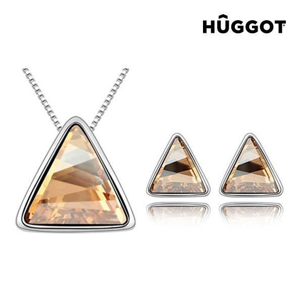 Hûggot Triangle Rhodium-Plated Set: Pendant and Earrings Created with Swarovski®Crystals (45 cm)-Universal Store London™