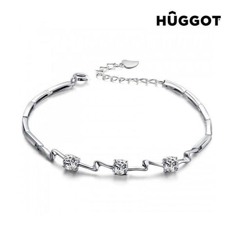 Image of Hûggot Unequal 925 Sterling Silver Bracelet with Zircons (18 cm)-Universal Store London™