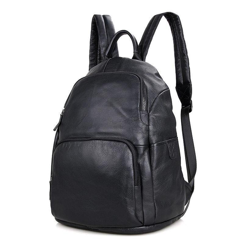 iPack Top Grain Leather Backpack - Black-Universal Store London™