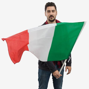 Italian Flag with Pole (90 x 60 cm)-Universal Store London™