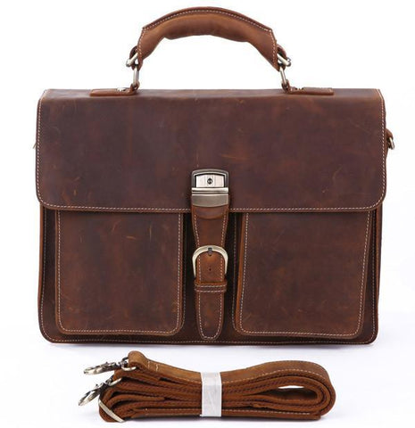 Image of Italian Leather Men's Briefcase-Universal Store London™