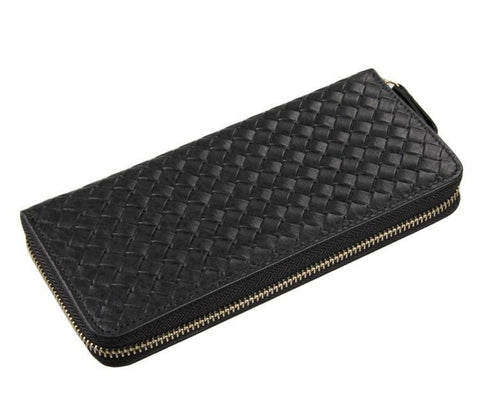 Image of Jane Black Unisex Woven Leather Clutch Wallet Bag-Universal Store London™